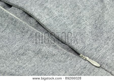 Grey Jersey With Zipper Close-up Background