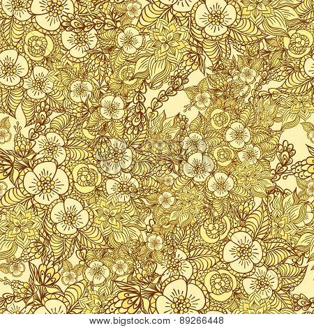Seamless pattern with doodle  flowers in gold
