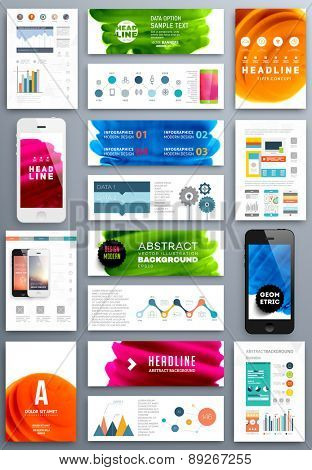 Set of Vector Poster Templates with Fluid Paint Splash. Abstract Background for Business Documents, Flyers, Posters, Annual Reports, Cards and Placards. Infographic Charts, Graphs and other Elements