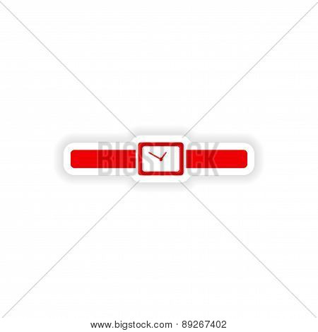 icon sticker realistic design on paper watch