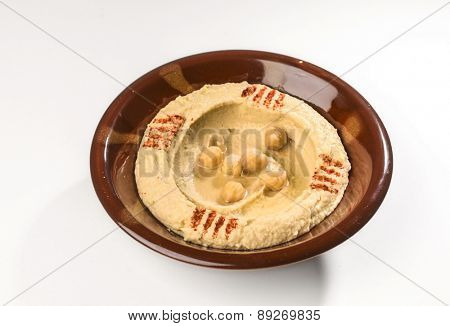 Hummus - a middle eastern cuisine. An isolated image.
