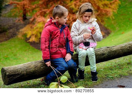 Boy and girl playing together