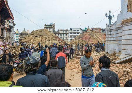 KATHMANDU, NEPAL - APRIL 26, 2015: Durbar Square, a UNESCO World Heritage Site, is severly damaged after the major earthquake on 25 April 2015.