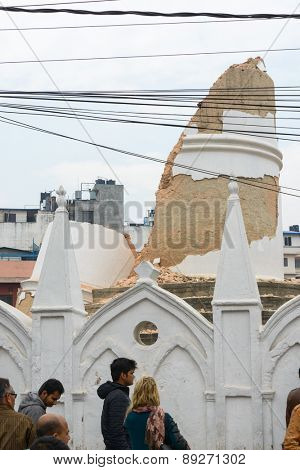 KATHMANDU, NEPAL - APRIL 26, 2015: The collapsed Dharhara tower after the major earthquake on 25 April 2015.