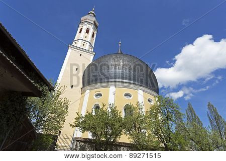 Small church with onion tower in Bavaria, Germany