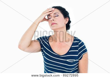 Woman having migraine on white background