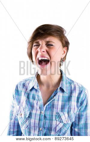 Pretty brunette shouting on white background