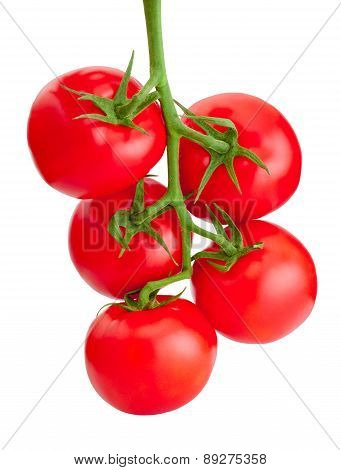 Bunch Red Fresh Tomatoes Isolated On White Background