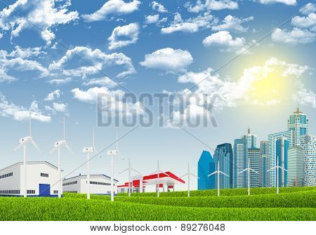 Cityscape with wind petrol station