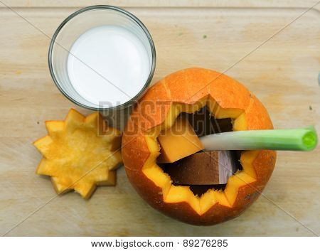 Orange Halloween Pumpkin Cut Open