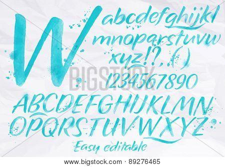Modern Alphabet Blue Color.