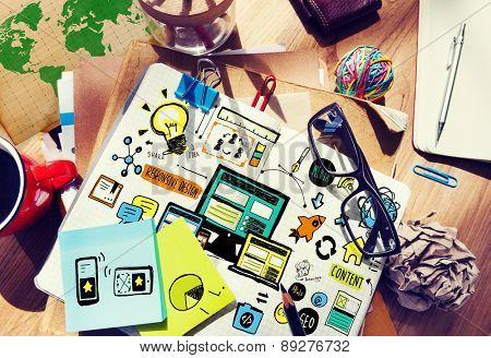 Responsive Design Content Idea Creativity Working Concept