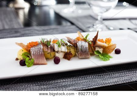 Salted and marinated herring