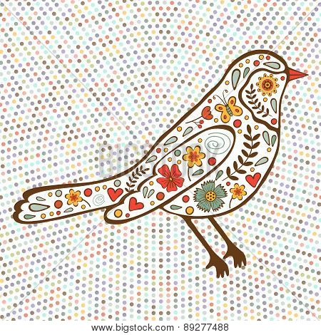Colorful floral bird on dotted background