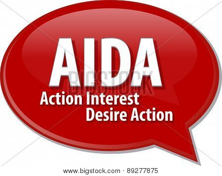 word speech bubble illustration of business acronym term AIDA Action Interest Desire Action vector