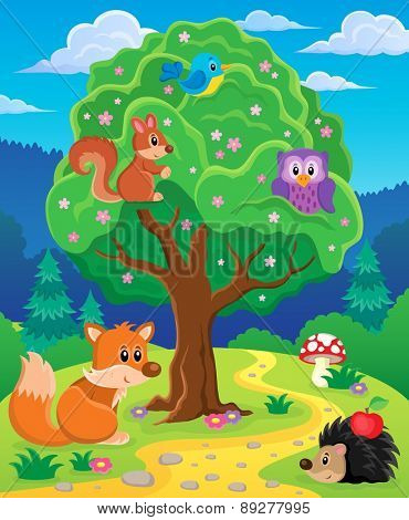 Forest animals topic image 3 - eps10 vector illustration.