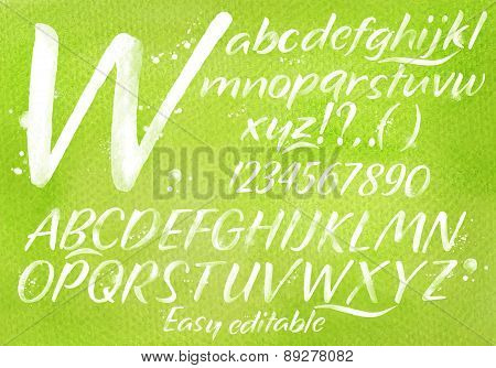 Modern Alphabet Green Background.