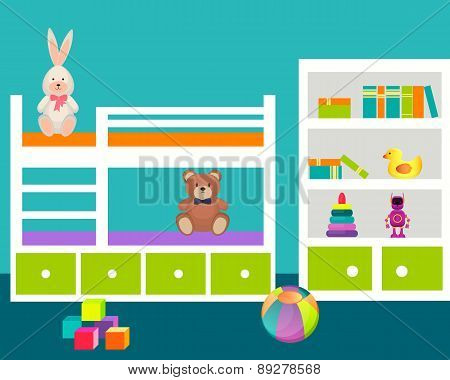 Kids room with a bed and toys. Vector illustration