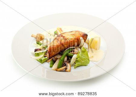 Salmon Steak with Vegetables and Sauce