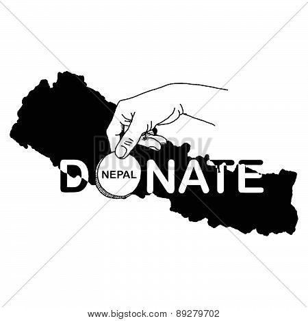 Hand Holding Coin With The Word Donate