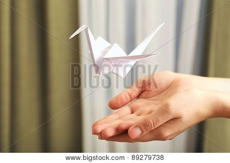 Female hands with paper crane on blurred background