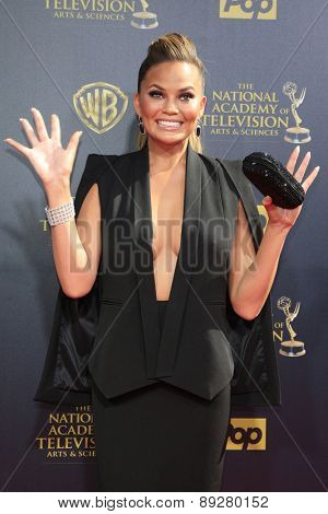BURBANK - APR 26: Chrissy Teigen at the 42nd Daytime Emmy Awards Gala at Warner Bros. Studio on April 26, 2015 in Burbank, California
