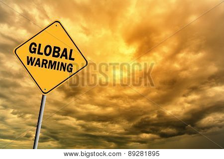 Sign With Words 'Global Warming' And Thunderclouds