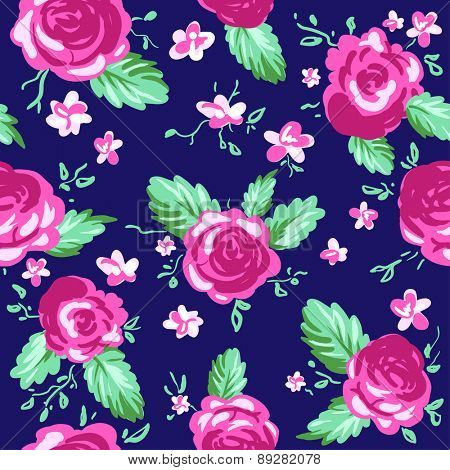 Painted roses on blue background. Seamless vector pattern