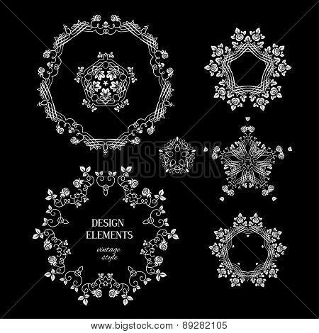 Vintage set of round elements for design