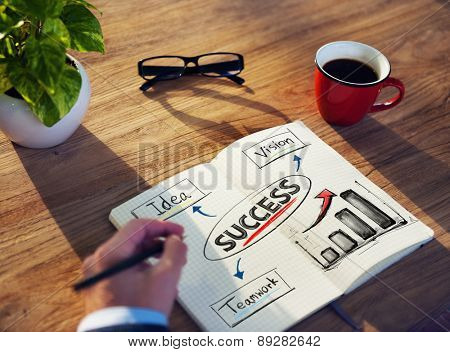 Businessman Brainstorming About Business Success