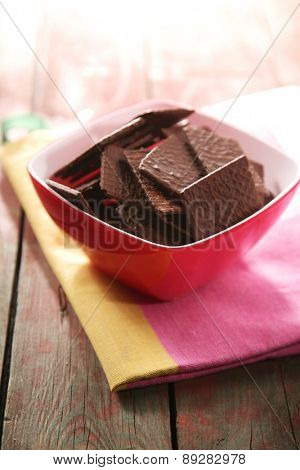 Close-up of chocolate cookies in bowl