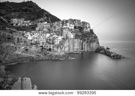 Manarola town in black and white, Liguria in Italy