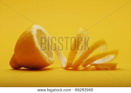 Close up of lemon on white background