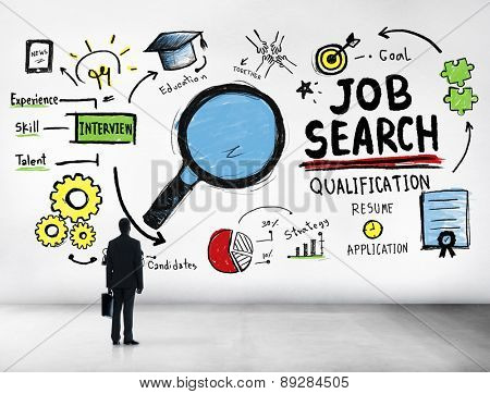 Businessman Looking up Job Search Opportunity Occupation Concept