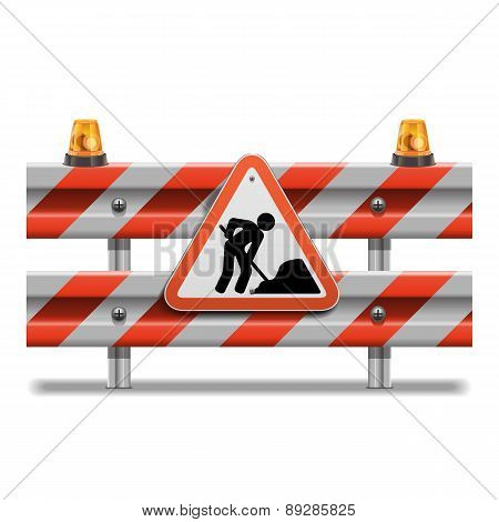 Vector Barrier With Sign And Beacon