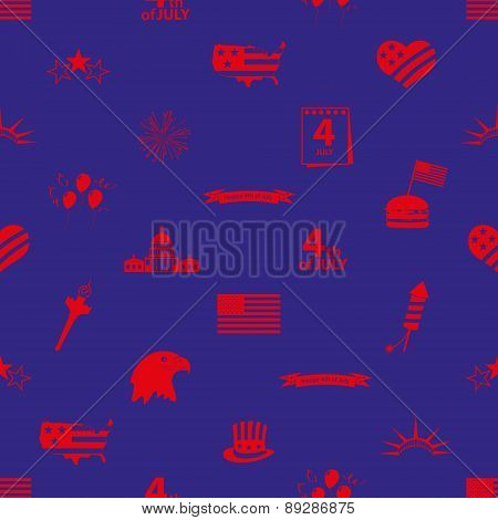USA Independence Day Celebration Icons Seamless Pattern Eps10
