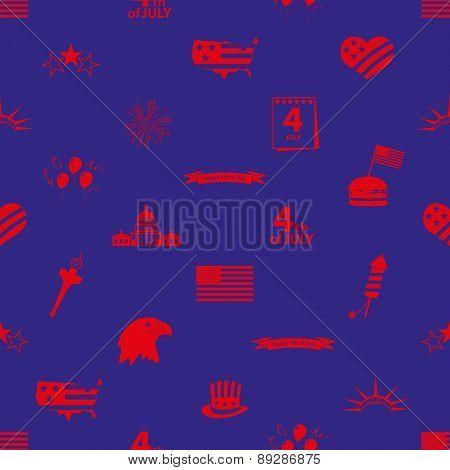 USA Independence Day Celebration Icons Seamless Pattern Eps10