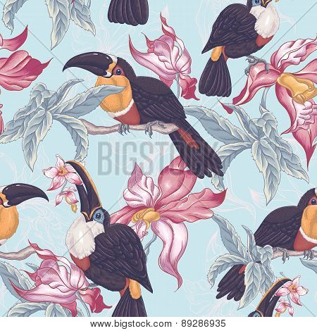 Tropical Seamless Background with Exotic Flowers and Toucan,