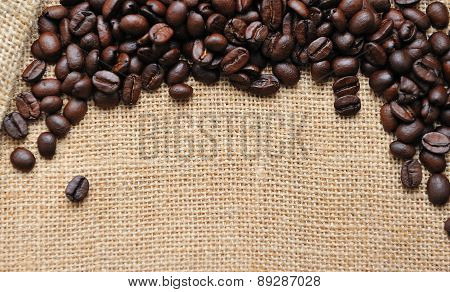 Canvas and coffee beans  photo background