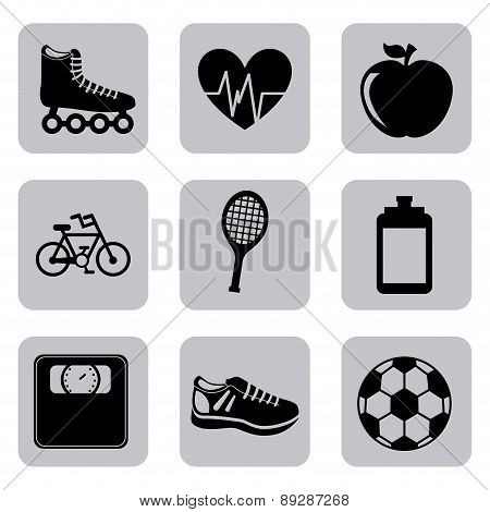 Fitness and sports design over white background vector illustrat
