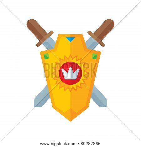 Shield and swords - vector logo creative illustration in flat style.