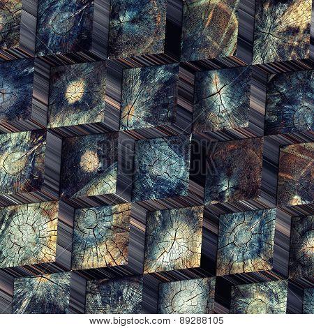 old wood blocks backdrop. 3d concept