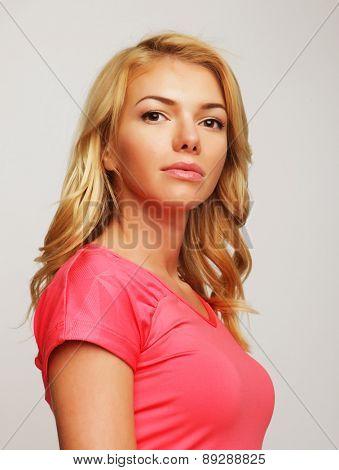 Casual style woman portrait. Studio shot.