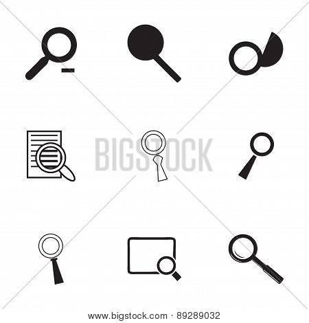 Vector magnufying glass icons set