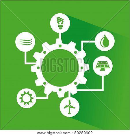 Ecology design over green background vector illustration
