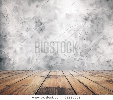 old grunge interior, vintage background, vector