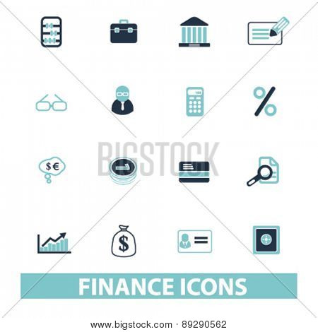 finance, bank, money isolated icons, signs, illustrations website, internet mobile design concept set, vector