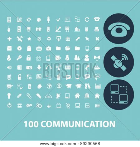 100 communication, technology, phone, smartphone isolated web, internet, mobile, applcation icons, signs, illustrations design concept set, vector