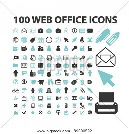 100 web office, media, business isolated icons, signs, illustrations website, internet mobile design concept set, vector