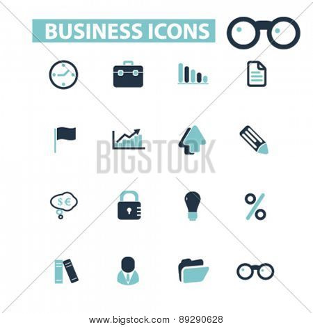 business, management, audit isolated icons, signs, illustrations website, internet mobile design concept set, vector